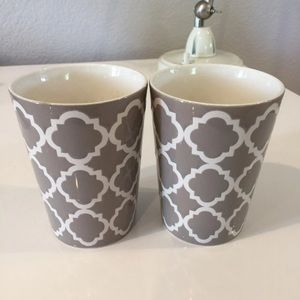 Other - Moroccan Quatrefoil Candle Holders Gray White Two